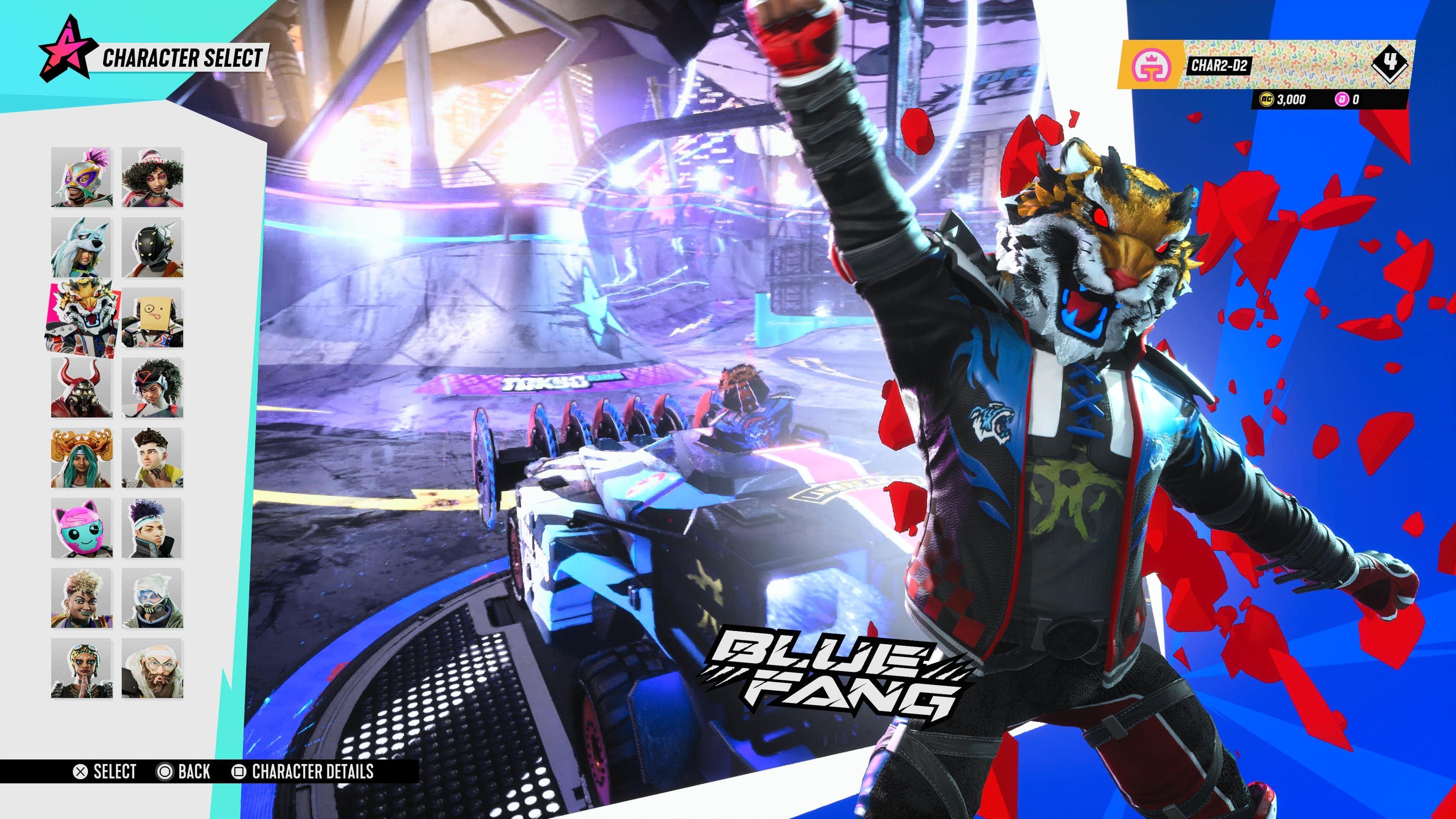 Character selection screen on Destruction AllStars featuring Bluefang