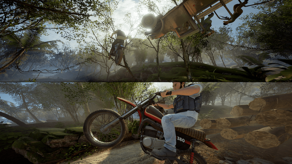 A Way Out motorbike split screen gameplay