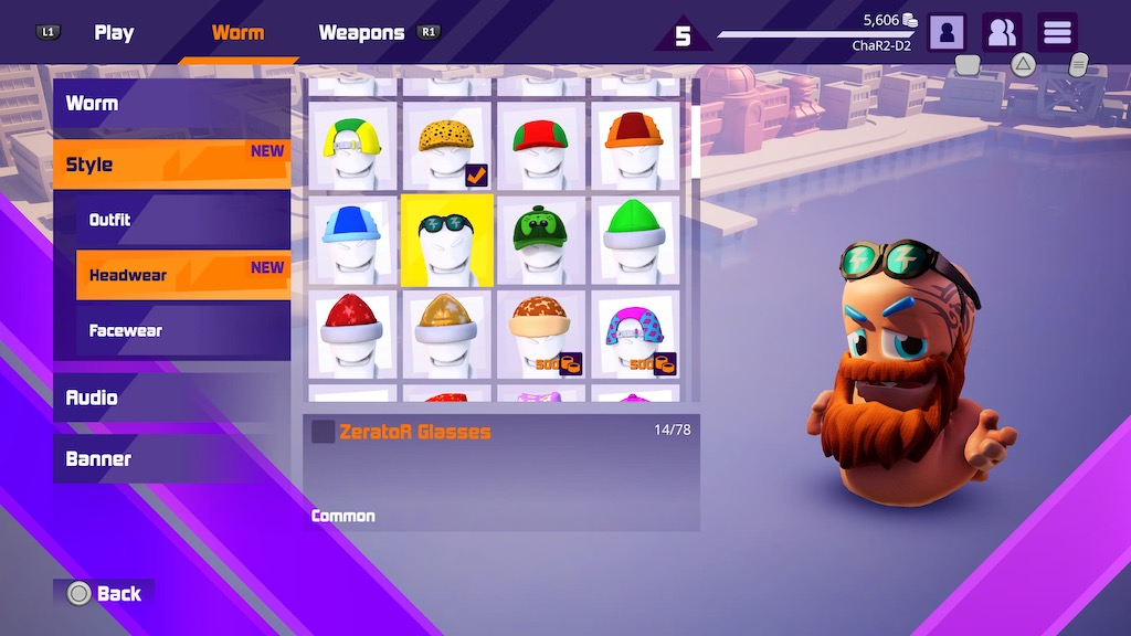 The customisation screen, editing headwear in Worms Rumble