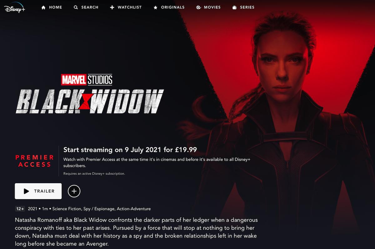 Black Widow Disney+ Premier Access £19.99